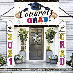 Graduation Decorations Banners - Class of 2021 & Congrats Graduation Hanging Banners Signs Outdoor..