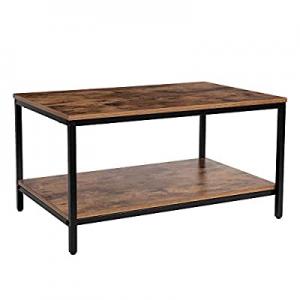 KOZYSPHERE Coffee Table with Metal Frame now 50.0% off ,2-Tier Tea Table with Storage Shelf,Cockta..
