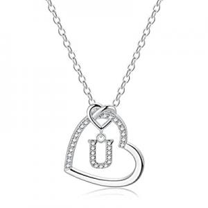 CZ Heart Pendant Initial Necklaces now 60.0% off , 14K Gold Filled Heart Initial Necklaces for Tee..