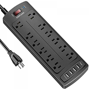 Power Strip with 8 Ft now 30.0% off , POWLIGHT Surge Protector with 12 AC Outlets and 4 USB Chargi..