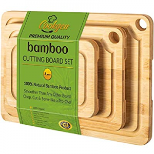 Cookgen Bamboo Cutting Board With Juice Groove 3-Pcs Set now 25.0% off , Large Handles, Pre-Oiled ..