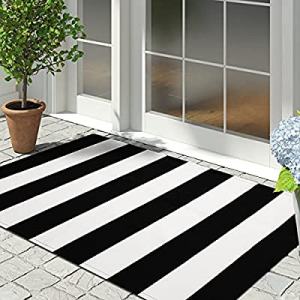 60.0% off Cotton Black and White Striped Rug Outdoor Doormat 27.5 x 43 Inches Washable Woven Front..