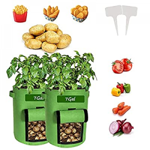 Potato Grow Bags now 80.0% off , 2 Pack Heavy-Duty Plant Grow Bag with Dual Handles and Velcro Win..