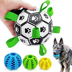 CFinke Dog Soccer Ball with Tabs and 3 Chew Balls for Treat Dispensing & IQ Training now 55.0% off..