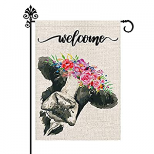 One Day Only!25.0% off Welcome Floral Crown Cow Garden Burlap Flag 12.5 x 18 Inch Vertical Double ..
