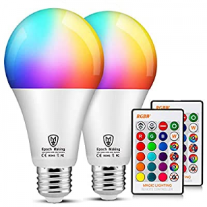 One Day Only!LED RGB Color Changing Light Bulbs with Remote now 40.0% off , 6000K Dimmable E26 Scr..