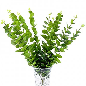 One Day Only!50.0% off U/N Artificial Eucalyptus Branches Greenery Stems 10 PCS Plastic Silk Silve..