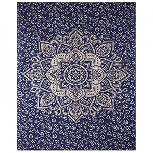 80.0% off AUNERCART New Launched Blue Gold Passion Ombre Mandala Small Tapestry Poster Beach Throw..