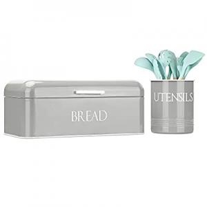 Outshine Vintage Metal Bread Box & Kitchen Utensil Holder Set now 20.0% off , Gray   Large Bread B..