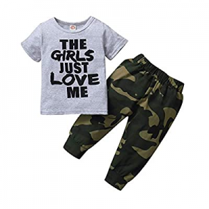 Baby Boys Camouflage Hooded Sweatshirt Outfit The Girl Just Love Me Top Pants Set now 55.0% off