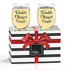 Stemless Wine Glasses (World's Okayest Couple Glasses) now 25.0% off