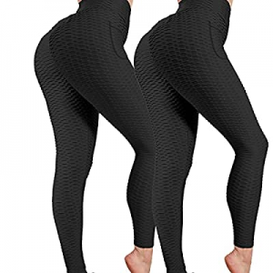 50.0% off FLWWSO 2 Pack Butt Lifting Leggings for Women High Waisted Yoga Pants with Pockets Tummy..