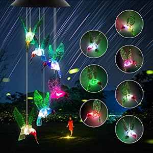 Ronzhy Solar Hummingbird Wind Chime now 40.0% off , Color Changing Wind Chimes Outdoor Waterproof ..