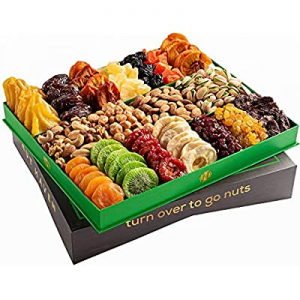 Fathers Day Nuts & Dried Fruit Gift Basket – Selection of 18 Food Tray – Gourmet Snack Box for Mot..