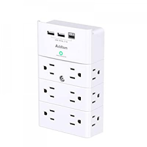 Multi Plug Outlet - Addtam Surge Protector Wall Mount with 12 Outlet Extender- 3 Sides and 3 USB P..