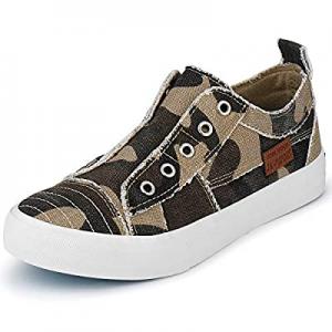 JENN ARDOR Women Fashion Canvas Sneakers Slip On Shoes Low Top Casual Walking Shoes Flats now 50.0..