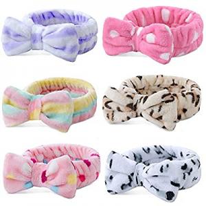 6 Pack Spa Headband now 50.0% off ,Bow Hair Band Women Facial Makeup Head Band Soft Coral Fleece B..