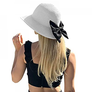 Sowift Womens Sun Straw Hat Beach Visor Hat Summer UPF50+ Foldable Brim with Bow now 45.0% off