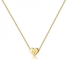 80.0% off Heart Initial Necklaces for Women Girls - 14K Gold Filled Heart Pendant Letter Alphabet ..