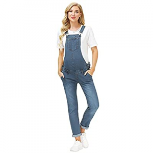One Day Only!Maacie Maternity Denim Bib Overalls Jumpsuits with Pockets for Women now 50.0% off