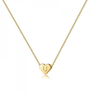 One Day Only!65.0% off Heart Initial Necklaces for Women Girls - 14K Gold Filled Heart Pendant Let..