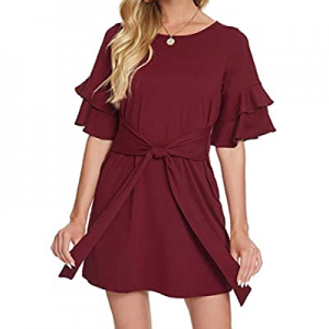 One Day Only!Laughido Women's Bell Sleeve Shift Tie Waist Ruffle Sleeve Casual Mini Dress now 68.0..
