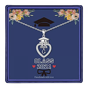 Graduation Gifts Class of 2021 Initial Necklace now 65.0% off , 14K White Gold Plated Initial Neck..