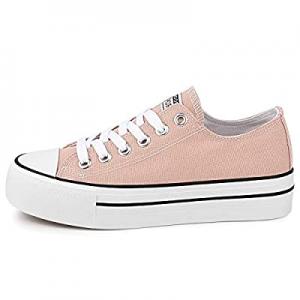 JENN ARDOR Women's Platform Low Tops Sneakers Fashion Canvas Shoes Casual Walking Flats Comfortabl..