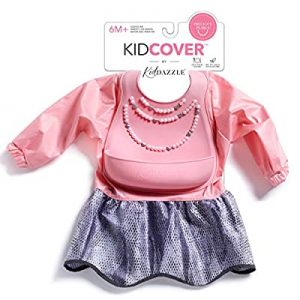 KidDazzle Precious Pearls Sleeved KidCover- Pink Baby Girl Silicone Bib now 15.0% off , Adjustable..