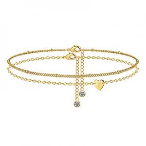M MOOHAM Heart Initial Ankle Bracelets for Women now 60.0% off , 14K Gold Filled Gold Anklets for ..
