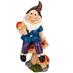 Yokgrass Garden Gnome Statue on Large Mushrooms now 40.0% off , Outdoor Gnome Decor , Funny Garden..