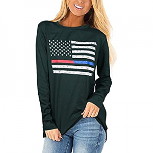 10.0% off NANYUAYA Womens American Flag Shirt USA Stars Stripes Patriotic Graphic Summer Causal Sh..