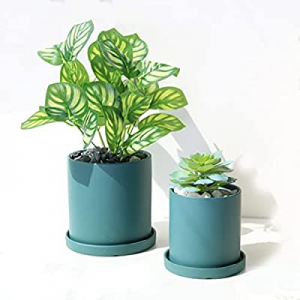 KAXYEW Ceramic Flower Plants Pots now 10.0% off , 5.3 Inch + 4.1 Inch Cylinder Planter Container w..