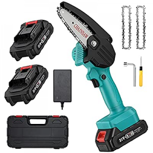 Mini ChainSaw with 2 Battery now 20.0% off , Seesii 4-Inch Cordless Electric Pruning Chain Saw wit..