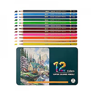 One Day Only!12 Colored Pencils Watercolor Pencils Set for Adult Coloring Books now 80.0% off , Mu..
