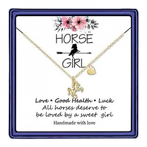 Hidepoo Horse Gifts for Girls now 55.0% off , 14K Gold Plated Heart Initial Pendant Horse Necklace..