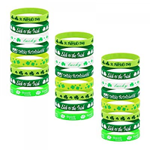 One Day Only!65.0% off Honsny 24 Pieces St.Patrick's Day Bracelets Shamrock Irish Rubber Wristband..