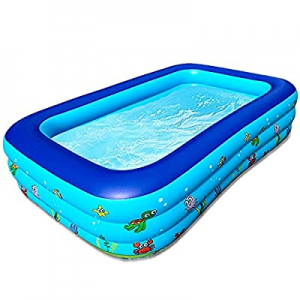 """Afcreras Inflatable Swimming Pool now 50.0% off , Blow Up Pool for Kids, 83""""×59""""×24"""" Full-Sized Fa.."""