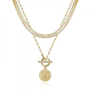 One Day Only!Gold Layered Initial Necklaces for Women now 50.0% off , 14K Gold Filled Initial Coin..