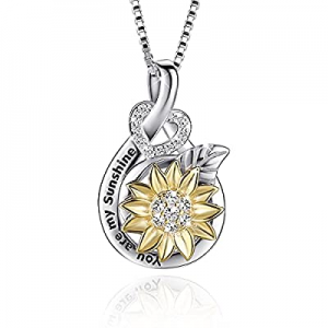 Sunflower Necklace for Women now 40.0% off , VANLAMS Love Heart Pendant Necklace You Are My Sunshi..