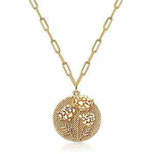 Oaoleer Flower Necklace 18K Gold Plated Floral Pendant now 50.0% off ,Women Birth Month Rose Embos..
