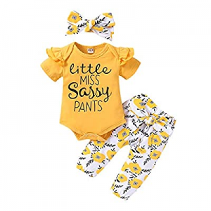 55.0% off Toddler Baby Girl Clothes Newborn Outfit Ruffle Sleeve Romper Onesies Floral Pants Set C..