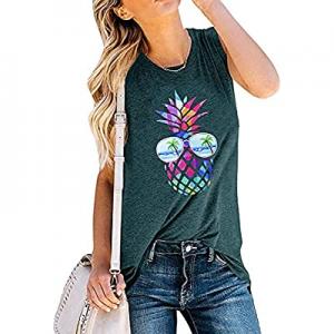 30.0% off SRHJOPNFR Tank Tops for Womens Pineapple Sunglasses Sleeveless Shirt Cute Graphic Beach ..