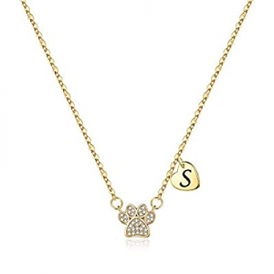 Dog Mom Necklace for Women now 60.0% off , Dainty 14K Gold Plated Cubic Zirconia Paw Print Initial..