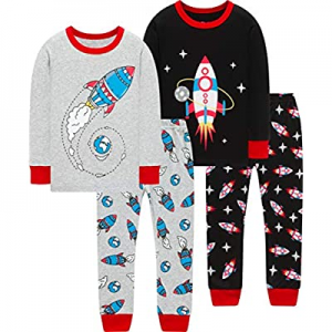 Pajamas For Boys Kids Rocket Christmas Sleepwear Baby Girls Clothes 4 Pieces Pants Set now 50.0% o..