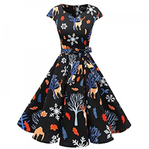Women's Vintage Tea Dress Prom Swing Cocktail Party Dress with Cap-Sleeves now 70.0% off