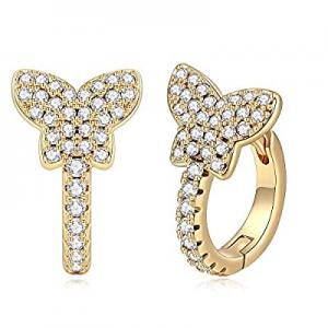 Gold Huggie Hoop Earrings for Women now 50.0% off , Hypoallergenic S925 Sterling Silver Post 14K G..