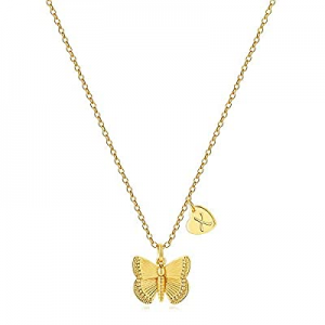 70.0% off MONOZO Initial Butterfly Necklace for Women - 14K Gold Filled Cute Initial Butterfly Nec..