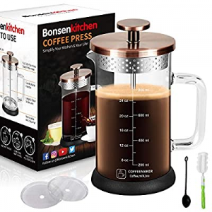 Upgrade Stainless Steel Strainer Large Coffee French Press 34Oz with 4 Level Filter Screens now 50..