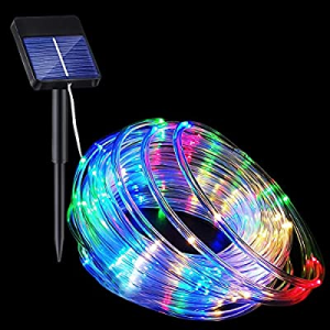 Solar Rope Lights now 20.0% off , 33FT 100LED 8 Modes Solar Rope String Lights Outdoor Fairy Light..